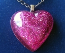 Sparkling Purple Resin Glitter Heart Pendant