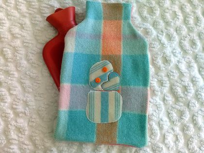 Vintage blanket tiki hot water bottle cover