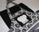 Kids apron - lily pinnie (ages 2-6yr) Black Motif (black reverse)