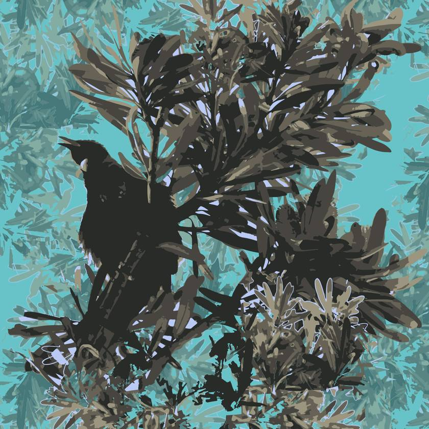 Tui in foliage cushion