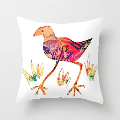 Artistic pukeko design throw pillow