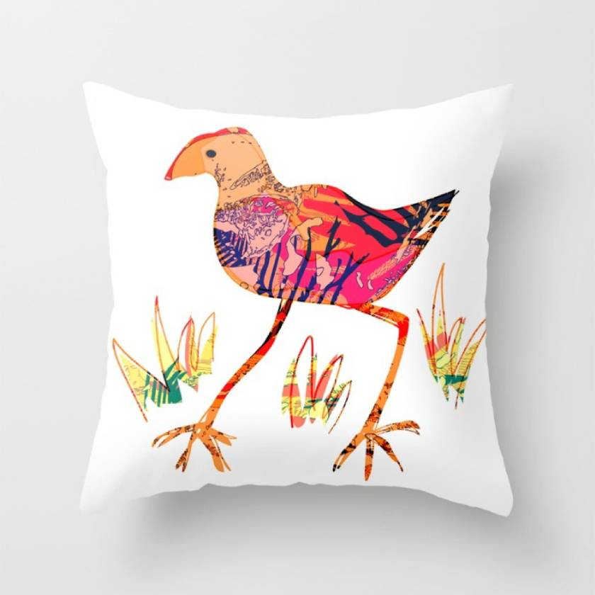 Artistic pukeko design throw pillow
