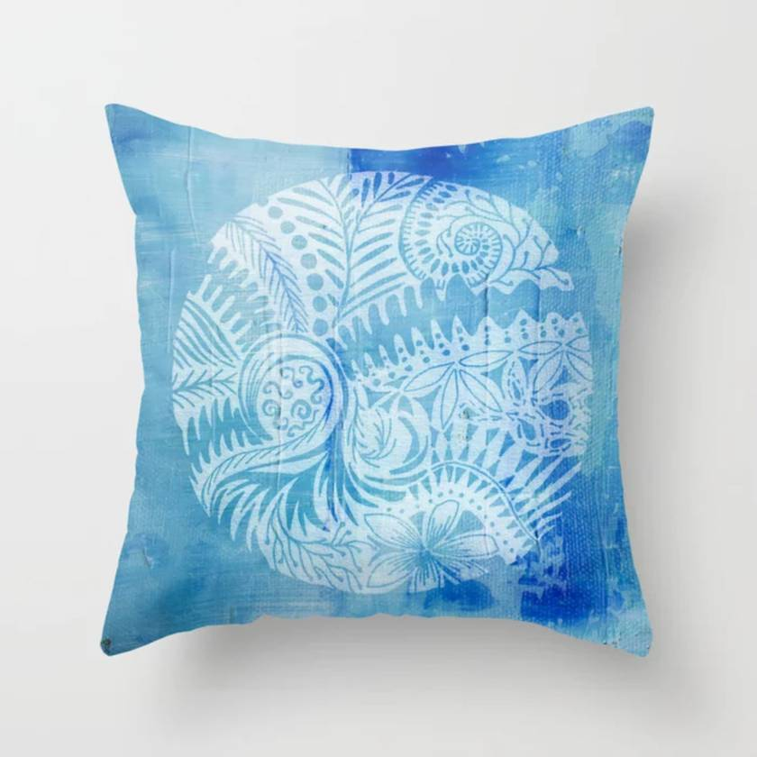 Mandala art pillow with New Zealand ferns
