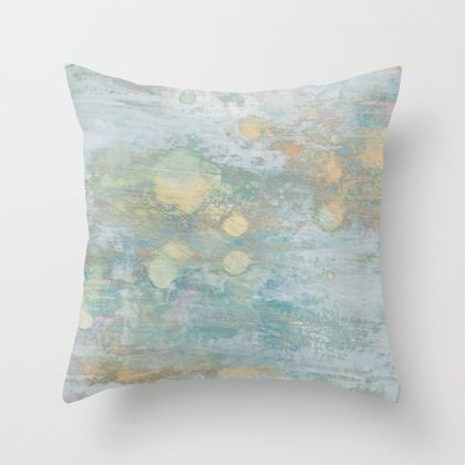 Beach vibe cushion distressed paint in pale blue