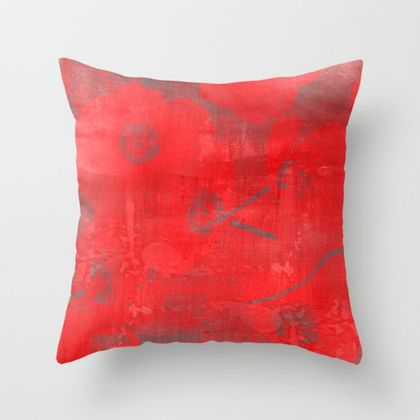 Poppies cushion on abstract textured painted background