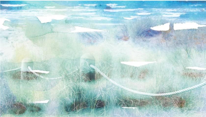 Beach theme art cushion - Mangawhai Heads