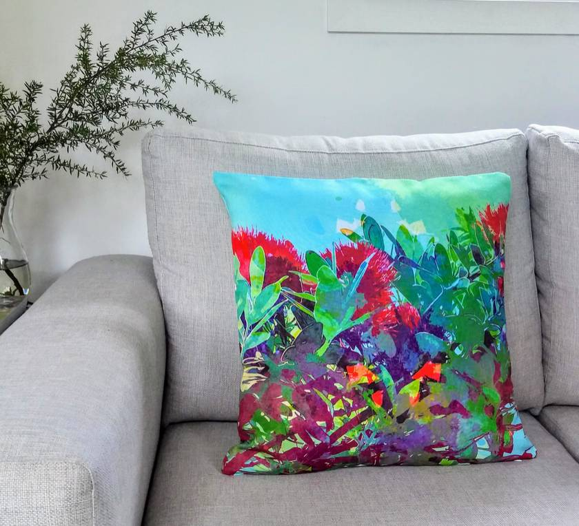 Pohutukawa watercolour print cushion - ready to ship