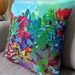 Pohutukawa watercolour print cushion - ready to ship
