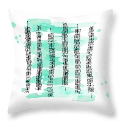 Kowhai tree leaves pillow in mint watercolour