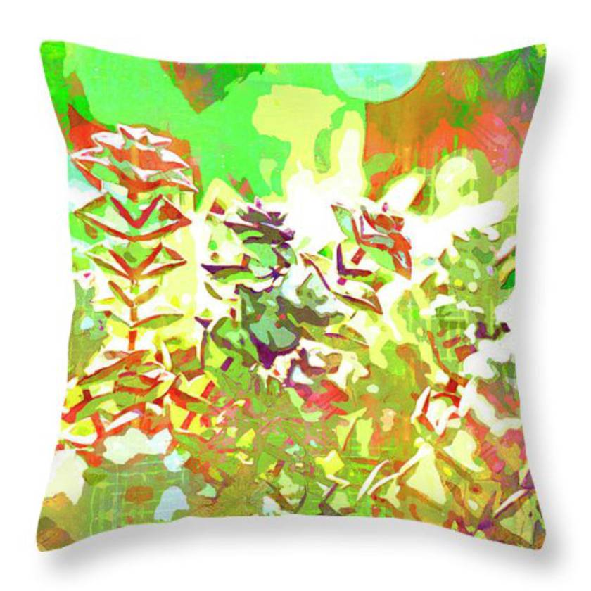 Succulent garden watercolor cushion