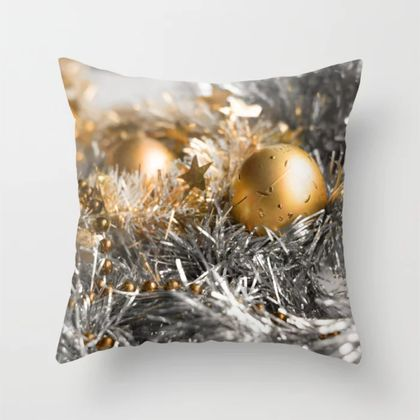 Christmas tinsel and baubles cushion