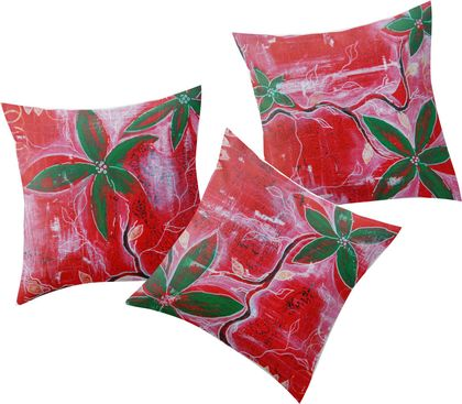 Set of 3 cushions - red and green christmas pohutukawa leaves