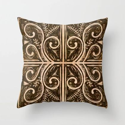 Koru fern linocut pillow for couch
