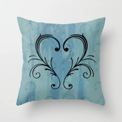 Blue scroll heart image cushion