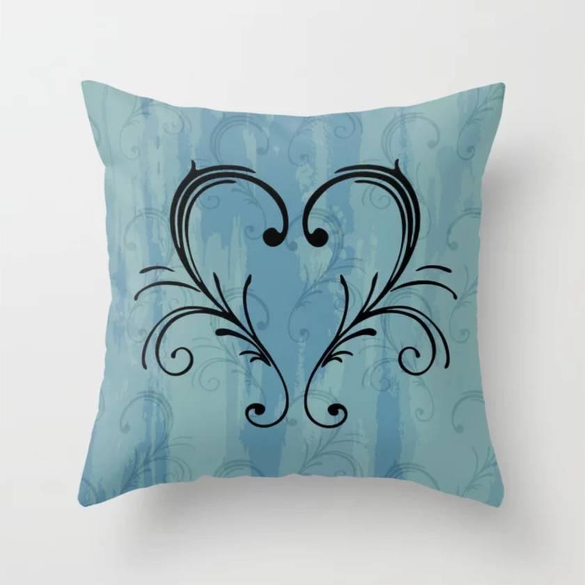 Blue scroll heart image cushion
