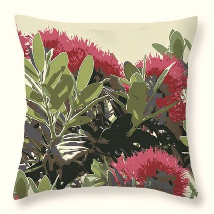 Pohutukawa New Zealand Christmas tree cushion - Ready to Ship!