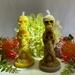Golden Beeswax Skull Totem Candle See no evil, Hear no evil, Speak no evil