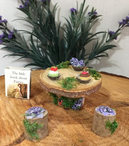 ✨MINIATURE FAIRY PARTY TABLE, Miniature FAIRY BOOK  & 2 FAIRY PARTY CAKES ✨
