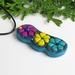 Vibrant flower pendant teal