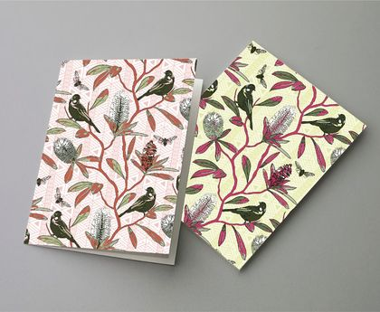 Tui in Banksia - notelet cards x 6