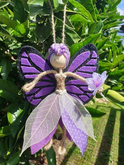 Fairy - felt, wood with bendable legs and arms