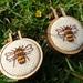 Mini-embroidery Hoop Earrings - Bee Design