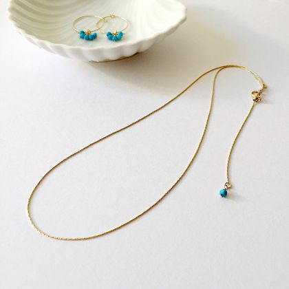 14K Gold Filled Adjustable Chain Necklace with Turquoise Ball End  (45cm Chain)