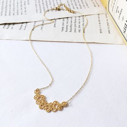 Gold Metal Lace Necklace