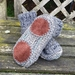 Handknitted merino slippers with leather soles - men's