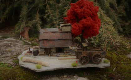 Miniature Model Stone Mining Cottage with Wagon and Autumn Tree