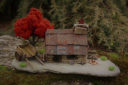 Miniature Model Stone Mining Cottage with Two Wheel Cart and Autumn Tree