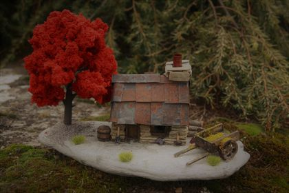 Miniature Model Stone Miners Cottage with Two Wheel Cart and Red Tree