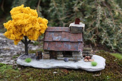 Miniature Model Stone Miners Cottage with Yellow Tree