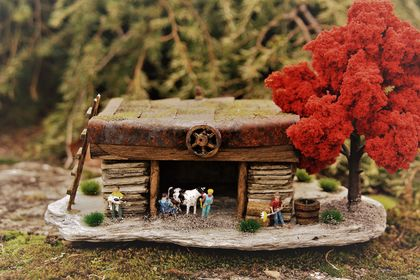Miniature Model Stone Cow Shed with Red Tree
