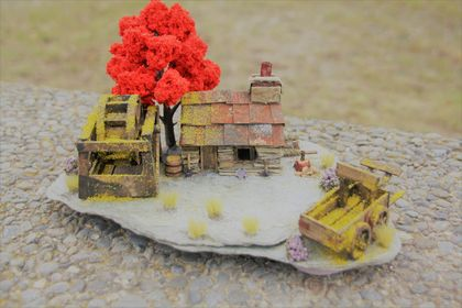 Miniature Stone Cottage with Water Wheel, Red Tree and Wagon