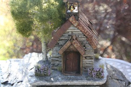 COMING SOON - Miniature Stone Church with Steeple, Bell, and Silver Birch Tree - Available End of July