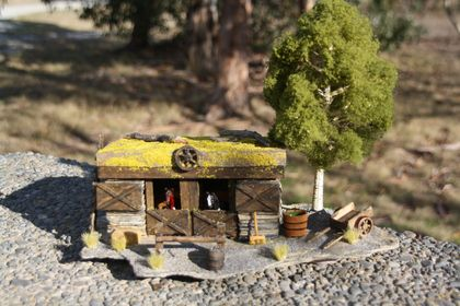 Miniature Model Original Stone Horse Stable with Green Tree and Cart