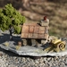 Miniature Miners Cottage with PURE GOLD NUGGETS, green tree and cart