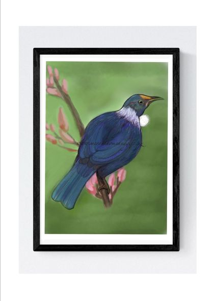 A4 Art Print - Tui on a branch