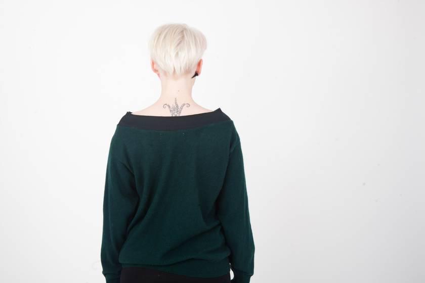 SALE - Bottle Green Boatneck Sweater