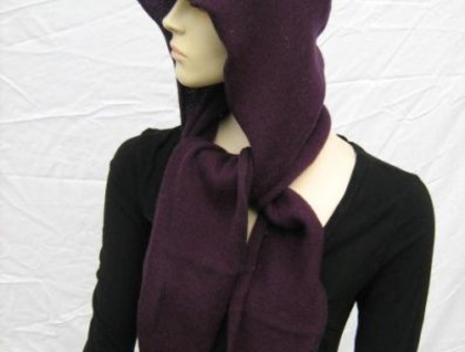 PURPLE WOOL SCOODY - SCARF AND HOOD IN ONE!!