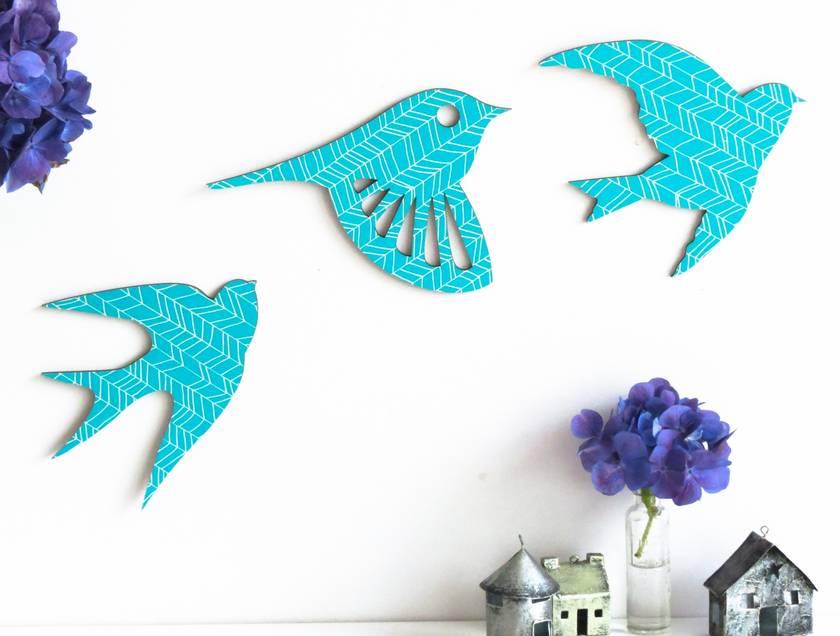 Flock of Teal Patterned Birds Wall Art  - Set of 3 flying birds in silhouette