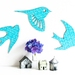 Flock of Teal Patterned Birds Wall Art  - Set of 3 flying birds in silhouette