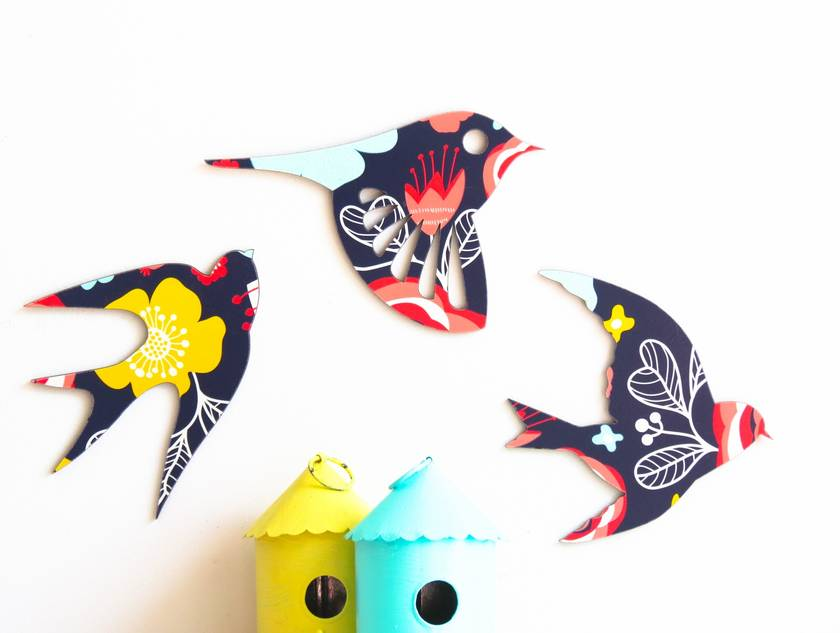Flock of Navy Floral Patterned Birds Wall Art  - Set of 3 flying birds in silhouette