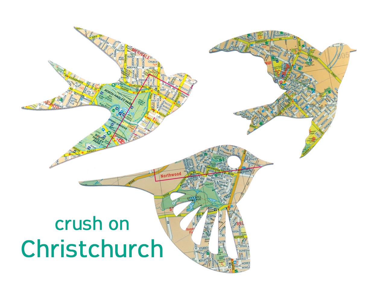 Map Of New Zealand Christchurch.New Zealand Christchurch City Map Birds Set Of 3 Laser Cut