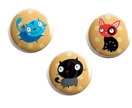 Set of 3 fun cat magnets
