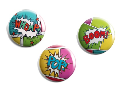 Set of 3 retro style comic texts magnets