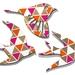 Tessellate Gold, orange & Pink  Birds Wall Art  - Set of 3 flying birds