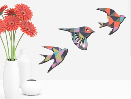 Geometric TangramsBird Wall Art - Set of 3 flying birds in silhouette