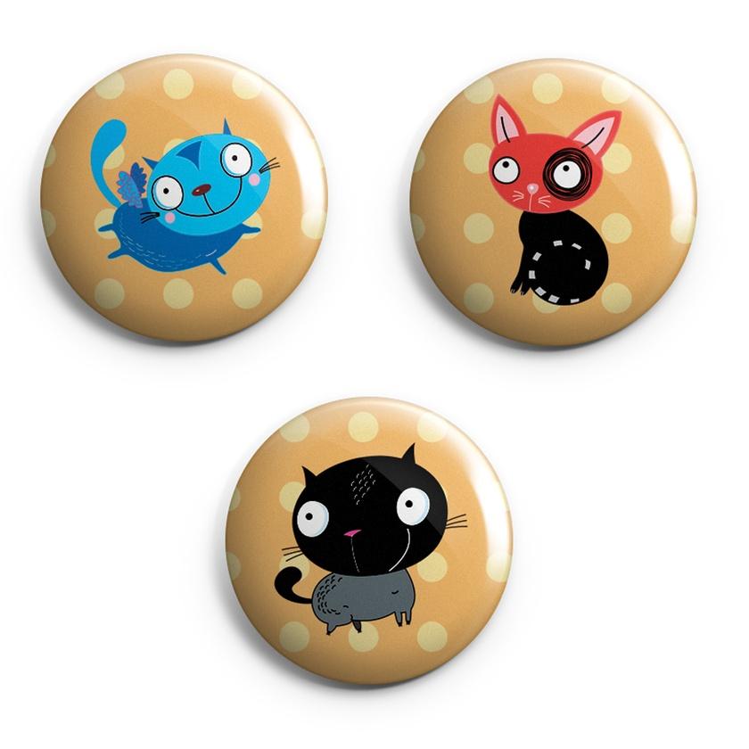 Set of 3 fun cat magnets